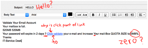 Emails with copywriting problems can be perceived as spam