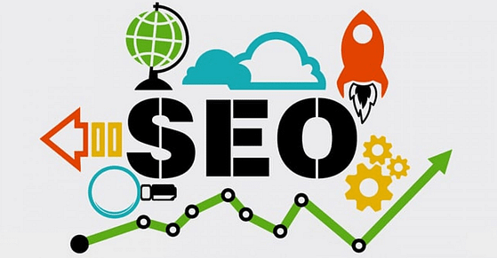 The word SEO with symbols representing understanding of SEO in creating website content. Boston-based copywriter Westebbe Marketing.