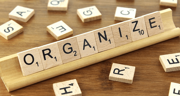 "Scrabble tray with ""organize:"" Plan your ebook to be on target, thorough, and efficient."