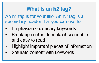 What is an h1 tag? An h1 tag is for your title. An h2 tage is a secondary header that you can ue to: (1) Emphasize secondary keywords, (2) Break up content to make it scanabble and easy to read, (3) Hilight important pieces of information, (4) Saturate content with keywords.