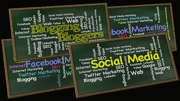 Planning a blogging program: Wordclouds with blogging, Facebook marketing, and social media themes.