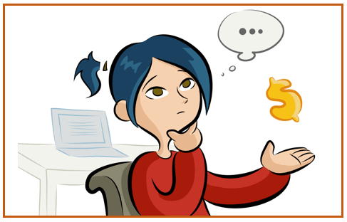 Cartoon of a business person looking concerned, holding a question mark (in front of a computer). Indicates how much a B2B freelance copywriter will charge. Boston-based copywriter Westebbe Marketing