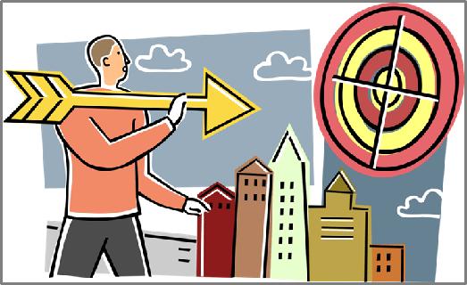 High-Quality Content. Arrow aimed at bullseye target. Boston-based copywriter Westebbe Marketing